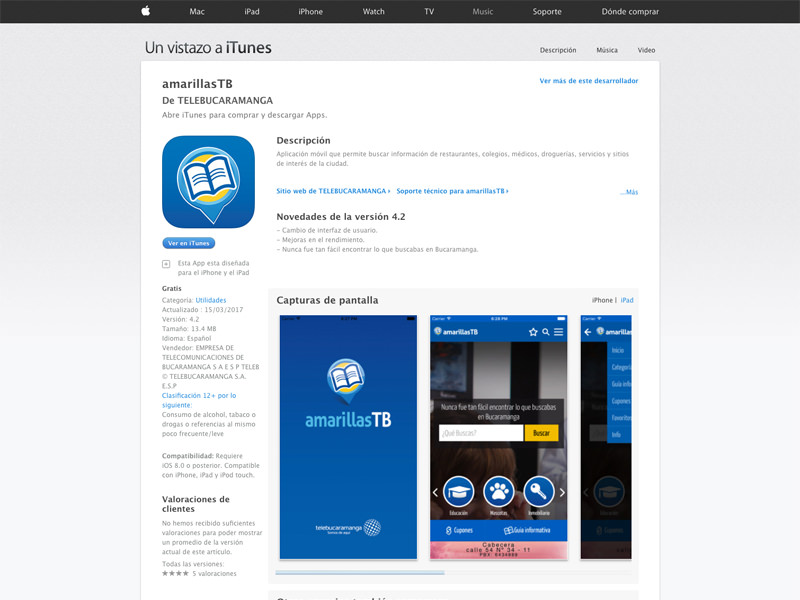 amarilasTB app móvil